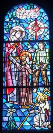 Den salige Gjertrud av Altenberg. Glassmaleri i valfartskirken St. Nikolaus in Koblenz-Arenberg